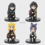 4Pcs Anime Demon Slayer รูป Giyuu Shinobu Kyoujurou Muichirou Q Ver ของเล่น PVC รูป Action Figure Toy Collection Shinobu รูปของขวัญ