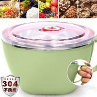 304不鏽鋼泡麵碗+密封蓋(1200ml)大容量不銹鋼碗D084-LG02雙層隔熱環保碗.防燙吃飯碗料理碗.防漏保鮮盒