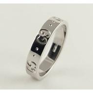(歡迎線上刷卡無息分期)[二手正品]GUCCI icon系列18白K金戒指 10.8號