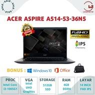 "LAPTOP ACER ASPIRE A514-53-36N5 - CORE I3-1005G1 512GB SSD RAM 4GB 14""FHD IPS GARANSI RESMI"
