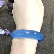 藍玉髓手鐲 冰種玉髓 純天然原色細款超冰透強熒光瑪瑙手鐲