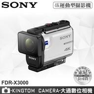 加贈原廠電池+半硬式攜帶盒 SONY FDR-X3000 4K 運動型攝影機 公司貨 送64G記憶卡+專用電池+專用座充+清潔組+讀卡機+螢幕保護貼+mini腳架 附防水殼 可深潛達60米
