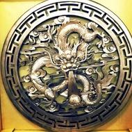 金銅立體龍牌匾額 復古銅色白楊木原木上漆80公分