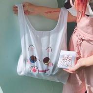 肉球摺疊購物袋/環保袋/純白色的異色瞳貓咪