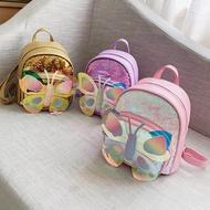 กระเป๋าเป้สะพายหลังเด็กกระเป๋านักเรียนหญิงน่ารักผีเสื้อกระเป๋าขนาดเล็ก Pu Sequin แฟชั่นเจ้าหญิงเด็กกระเป๋าสะพายเดินทาง