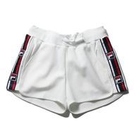 【領券滿$2000最高折$250】FILA 短褲 白 側邊 串標 綁帶 針織短褲 休閒 女 (布魯克林) 5SHV1436WT