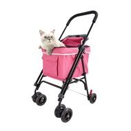 【阿肥寵物生活】IBIYAYA年度新款 心機寵物小車(機車適用)FS1732-R(莓果粉)可放置機車、寵物推車、小型犬貓