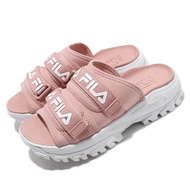 FILA【5S630T661】OUTDOOR SLIDE 拖鞋 鋸齒拖鞋 黏帶造型拖鞋 粉白 女生尺寸 韓國