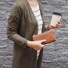 CLEDRAN| 日系中性L型皮革長夾 咖啡色