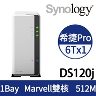 [Seagate NAS碟(5年保) 6TB*1] Synology DS120j NAS(1Bay/Marvell雙核/512MB)
