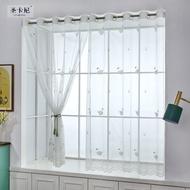 ผ้าม่านม่านผ้าโปร่งสีขาวทะลุแสงที่รับแขกห้องนอนระเบียงเส้นด้าย Bay window (หน้าต่างที่ยื่นออกจากกำแพง) ฉากกั้นยุโรปเหนือของสำเร็จรูปไม่ต้องเจาะรูติดตั้งผ้าม่านกันแสง