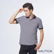 Nautica彈性棉細條紋短袖POLO衫-深藍