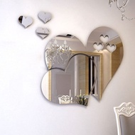Hearts Mirror 3D Wall Stickers, Mirror Self Adhesive Tiles Mirror Wall Stickers Tile Decals DIY Home Decoration, Small