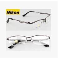 Nikon 純鈦架男款眼鏡框 近視純鈦半框眼鏡架 配平光防輻射