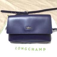 法國Longchamp Paris honore 單肩斜跨包 晚宴包 鏈條包 斜揹袋 平價 woc 藍色包