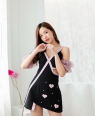 BLT BRAND เสื้อผ้าแบรนด์แท้การันตี เดรสสายเดี่ยวสีดำ แขนสีชมพู สวยน่ารัก