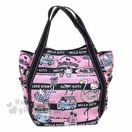 〔小禮堂〕Hello Kitty 帆布托特包手提包《粉黑.紅鶴》手提袋.外出袋.便當袋