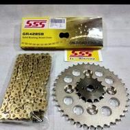 PROMO MURAH Gear Set SSS Karisma / Supra X 125 / Supra Fit New / Blade rantai Gold SEDIA JUGA|Rantai motor supr/a x 125|Rantai motor jupite/r z|Rantai motor vixio/n