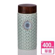 【乾唐軒活瓷】生命之花單層陶瓷隨身杯 400ml(薄荷綠燒花)