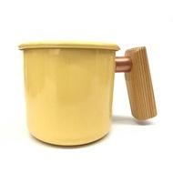 奶油黃檜木柄琺瑯杯400ml