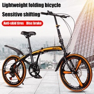 20 Inch 6-speed Variable Speed Foldable Bicycle With Integral Wheels Adult Double Disc Mountain Bike Super Light Shock Absorber Road Bike Men's And Women's Portable Folding Bicycle Commuter Bike M3xt