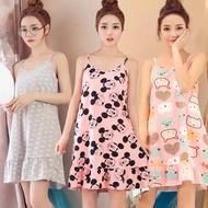 ✒▨♧  Plus Size Spandex Pajama For women Duster Cotton Sleepwear Spaghetti Dress