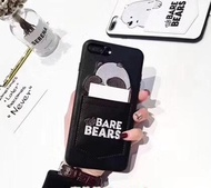 We Bare Bears Leather iPhone X Casing 8 / 7 / 6S / 6 Plus Phone Case Back Cover Protector Ice Bear C