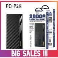 100% ORIGINAL PRODA PD-P26 LARGE CAPACITY 20000 MAH 3 INPUT & 4 OUTPUT POWERBANK