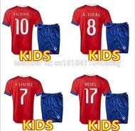Thai 16 17  Chile KIDS Soccer Jersey boys E.VARGAS VALDIVIA H.SUAZO  ALEXIS 2016 home away football