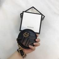 【Go時尚】GUCCI Marmont 圓形 皮革 零錢包 古馳 GG 圓餅包 鑰匙黑色 575160
