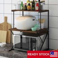 rak serbaguna 3 Tiers Oven Rack Rak Dapur Besar Serbaguna Large Kitchen Rice Cooker Organizer Storage Wooden Iron Frame