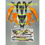 HONDA WAVE DASH 2 / DASH 110 V2 BODY COVER SET OREN + HITAM WITH STICKER (HLD) HONDA WAVE110 DASH2 / DASH110 V2