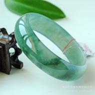 緬甸冰糯種翡翠玉手鐲 淺綠飄花玉鐲子 翡翠手鐲