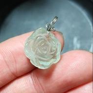 天然 海水藍寶 玫瑰花 雕件 墬子 可當 裸石 戒面