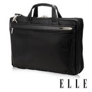 ELLE HOMME 紳士皮革公事包14吋筆電置物層 側背手提兩用設計-黑色 EL74164A-02