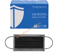 Medicos black 4 ply surgical mask 10 or 50 pcs