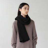 褶毛絨短圍巾(黑色、短)