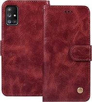 Ueokeird Galaxy A51 Wallet Case (Not Fit A51 5G Version), Samsung A51 Phone Case, Leather Shockproof Cover with Credit Card Slot Holder Flip Stand Magnetic Closure for Samsung Galaxy A51 (Wine red)