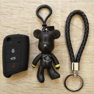 福斯 SKODA VW GOLF TIGUAN 鑰匙套 鑰匙包 含小熊及編織鑰匙圈