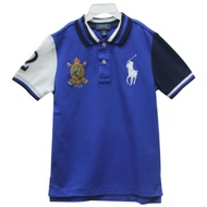 Ralph Lauren 童裝徽章大馬拼接短袖POLO衫-白藍(7歲)