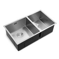 不銹鋼手工水槽雙槽 加厚雙槽洗菜盆廚房家用台下盆洗碗池  【交換禮物】