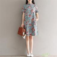洋裝 文藝中長版印花寬鬆大尺碼棉麻連身裙洋裝女夏新品旗袍