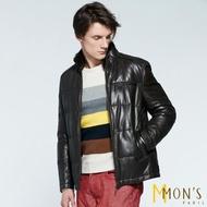 【MON'S】貂毛領保暖羽絨皮衣外套(100%羊皮)