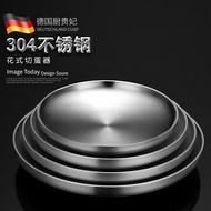 熱銷新品 優質 德國CUGF 雙層隔熱304不銹鋼盤子圓盤菜盤加厚剁椒魚頭專用盤子碟