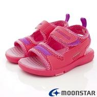 ◍零碼◍日本月星Moonstar機能童鞋頂級學步系列寬楦軟式彎曲護趾涼鞋款1454粉(中小同段/中大童段)SUPER SALE樂天購物節