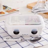 新品-耐熱陶瓷便當盒分格分隔飯盒學生保鮮碗飯盒帶蓋兩格密封盒微波爐