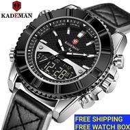 KADEMAN Mens Business Genuine Leather Mens Watch Sports Waterproof Luminous Watch Men Jam tangan lelaki K9069