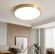 十畝地 - 美式金色圓形全銅吸頂燈含LED三色光(金色款)直徑30cm-24W