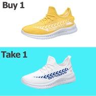 รองเท้าคัชชู ผชAOCUซื้อ 1 แถม 1รองเท้าผ้าใบผญรองเท้ากีฬาแบบทอบินได้รองเท้าผู้ชายแฟชั่นระบายอากาศสไตล์เกาหลีอินเทรนด์รองเท้าคัทชูแบบผูกเชือกรองเท้าวิ่งนักเรียนรองเท้าผู้ชายขนาดพลัสรองเท้าผู้หญิงรองเท้าคัดชูผญ(ขนาด: 39-44)รองเท้าคัชชูผญรองเท้าแตะชาย