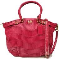 【COACH】F1282 皺褶造型皮革扣帶飾邊手提/肩背包(紅色)